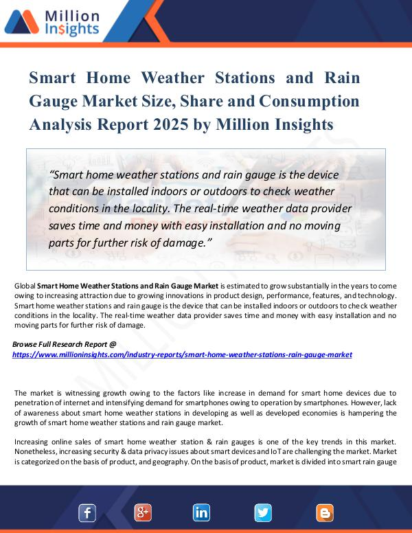 Market New Research Smart Home Weather Stations and Rain Gauge Market