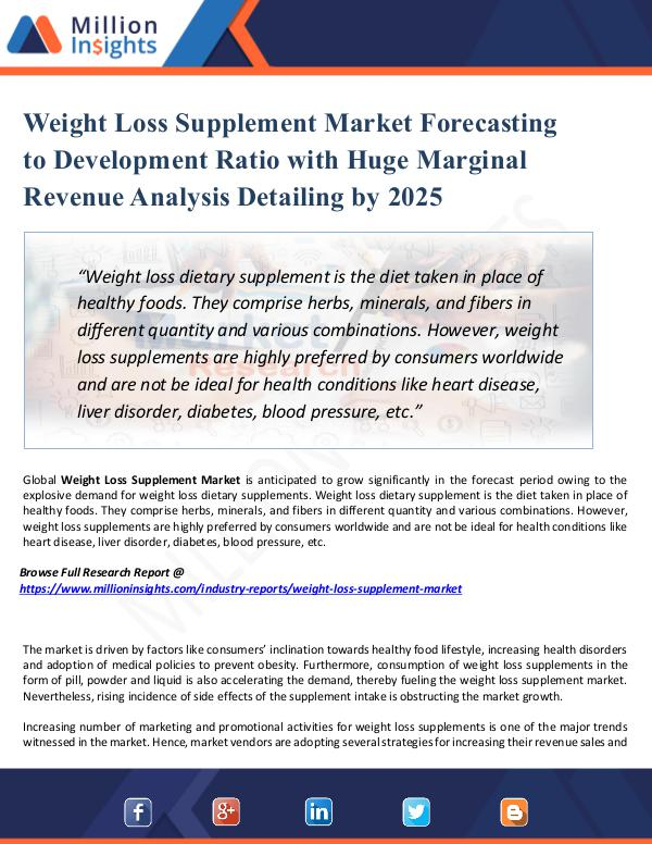 Market New Research Weight Loss Supplement Market Forecasting to 2025