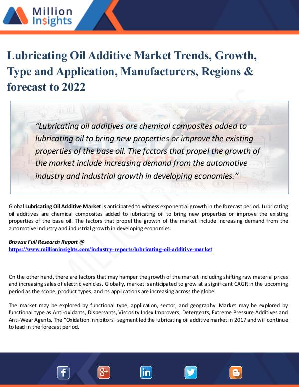 Market Research Analysis Lubricating Oil Additive Market Analysis - Trends,