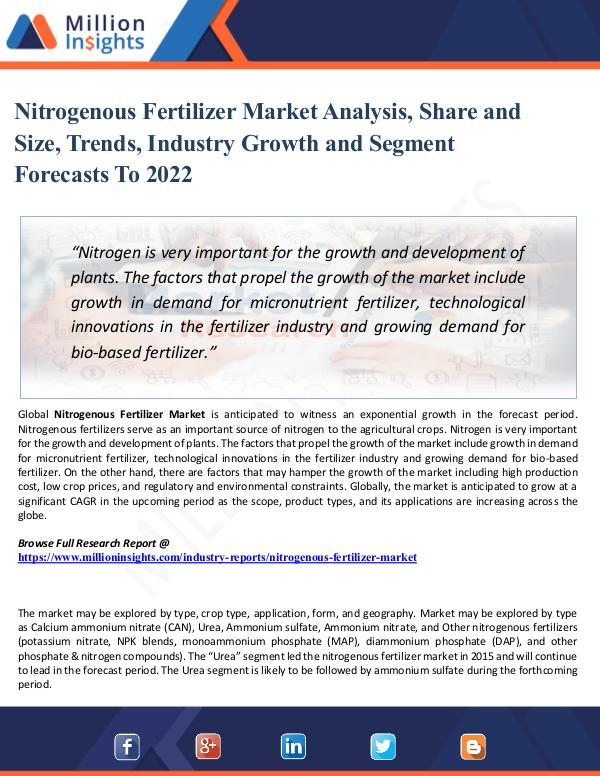 Nitrogenous Fertilizer Market - Global Industry