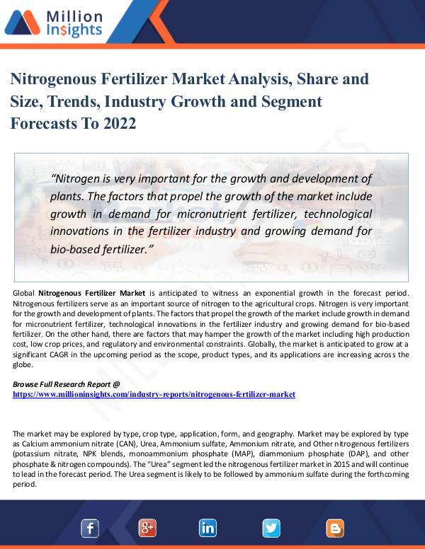 Market Research Analysis Nitrogenous Fertilizer Market - Global Industry