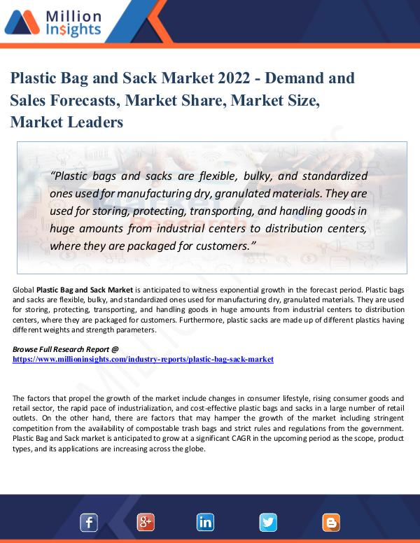 Plastic Bag and Sack Market 2022 - Demand and Sale