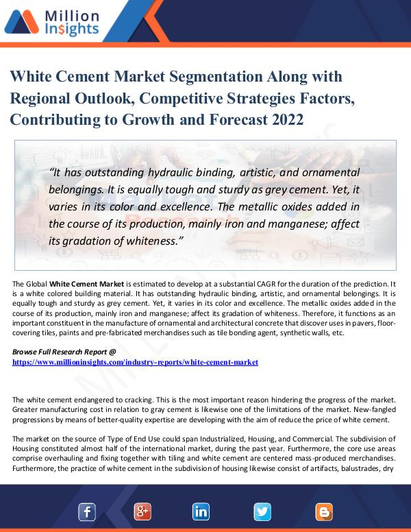 White Cement Market Segmentation Along with Region