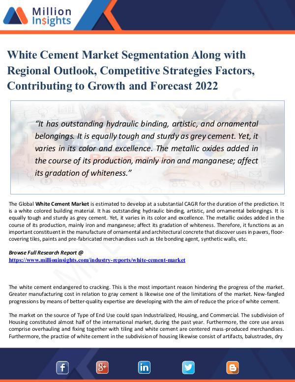 Market Research Analysis White Cement Market Segmentation Along with Region