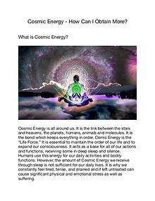 Cosmic Energy - How Can I Obtain More?