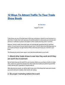 12 Ways To Attract Traffic To Your Trade Show Booth
