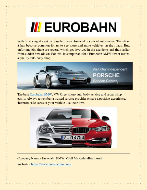 Eurobahn: BMW Repair Service at Fair Price With time a significant increase has been observed