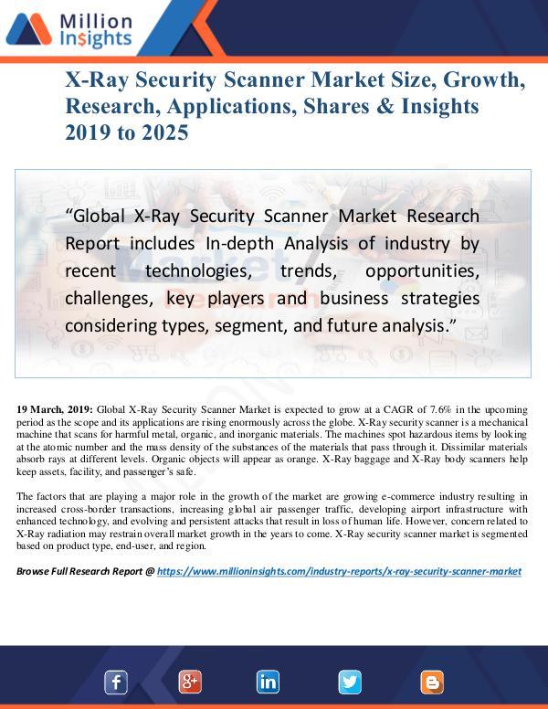 MarketReports X-Ray Security Scanner Market Size Analysis, Segme