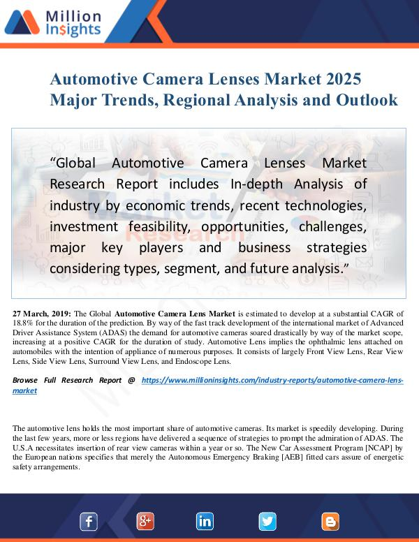 MarketReports Automotive Camera Lenses Market Size Analysis, Seg