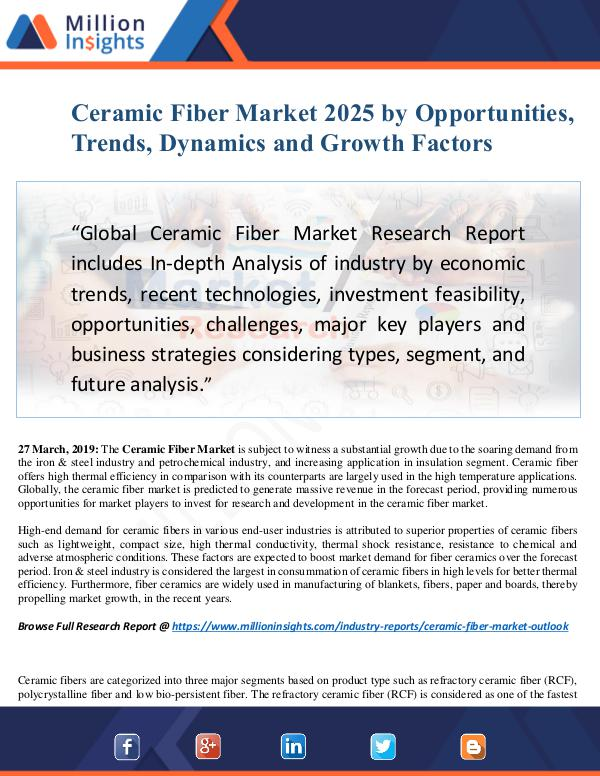 Ceramic Fiber Market Size Analysis, Segmentation,