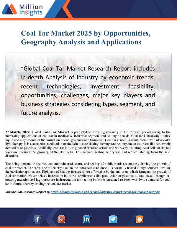 Coal Tar Market Size Analysis, Segmentation, Indus