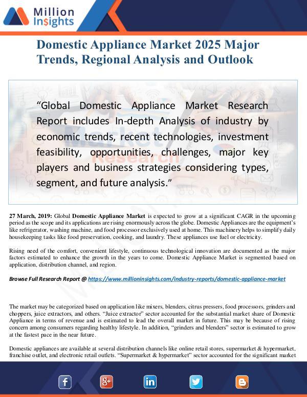 Domestic Appliance Market Size Analysis, Segmentat