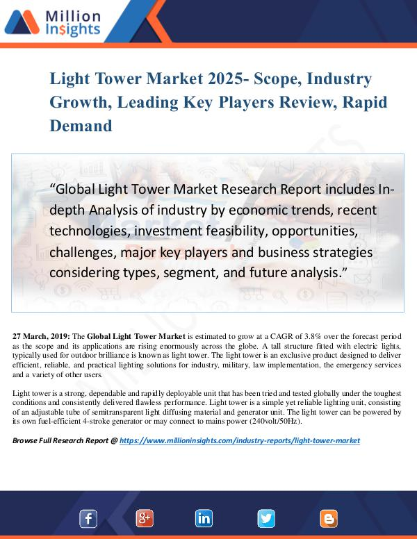 Light Tower Market Size Analysis, Segmentation, In