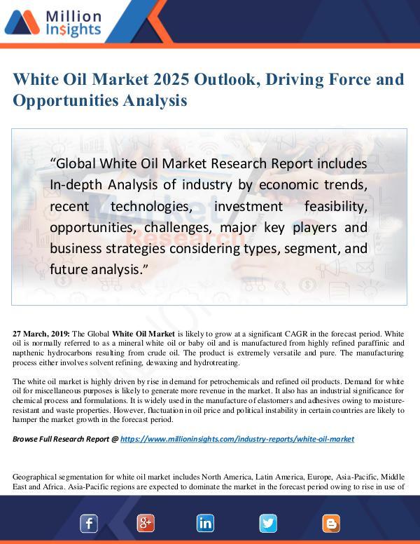White Oil Market Size Analysis, Segmentation, Indu