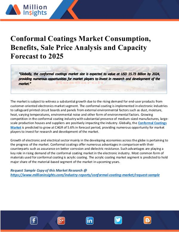 MarketReports Conformal Coatings Market Research Cost