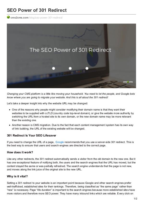 Migration Tips Seo Power of 301 Redirect