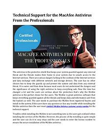 Technical Support for the MacAfee Antivirus From the Professionals