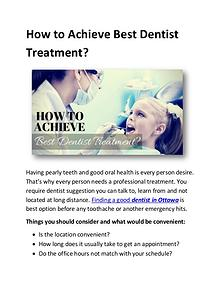 How to Achieve Best Dentist Treatment?