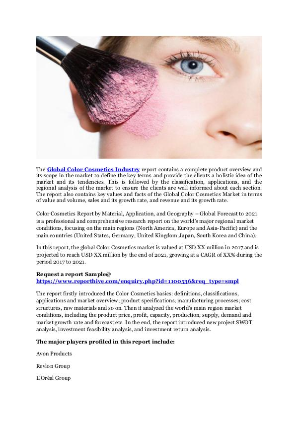Medical Devices Global Color Cosmetics Market 2017 Segments, Trend