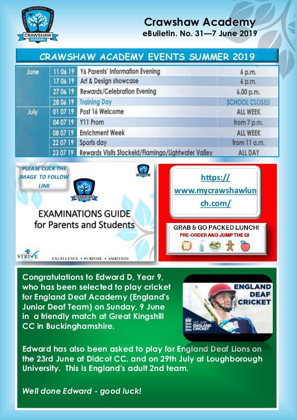 Crawshaw Academy Ebulletins EB31 7 June 19