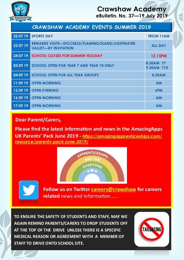 Crawshaw Academy Ebulletins EB37 19 July 19