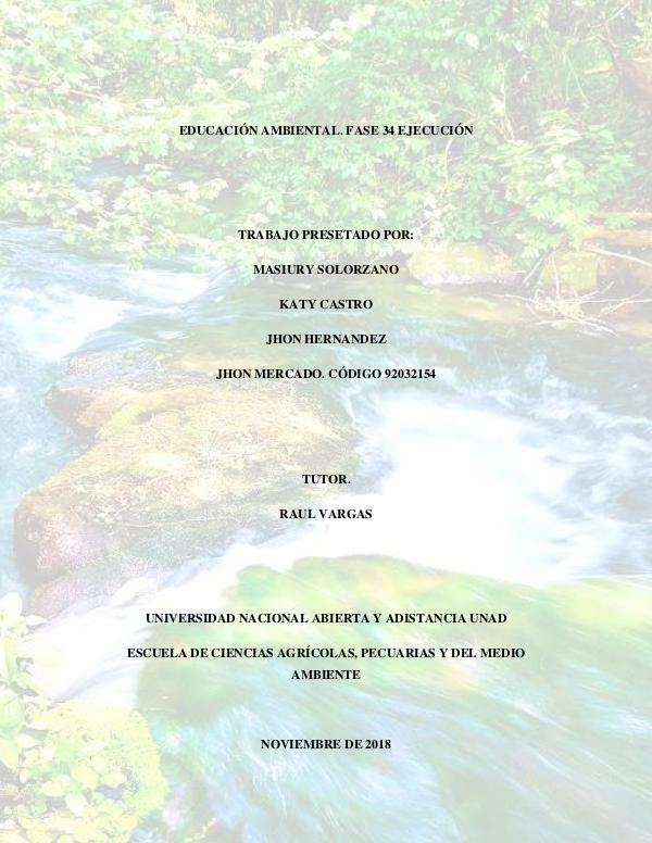 REVISTA DE EDUCACIÓN AMBIENTAL FASE4 EJECUCIÓN. Paso 4. Revista de Educación Ambiental