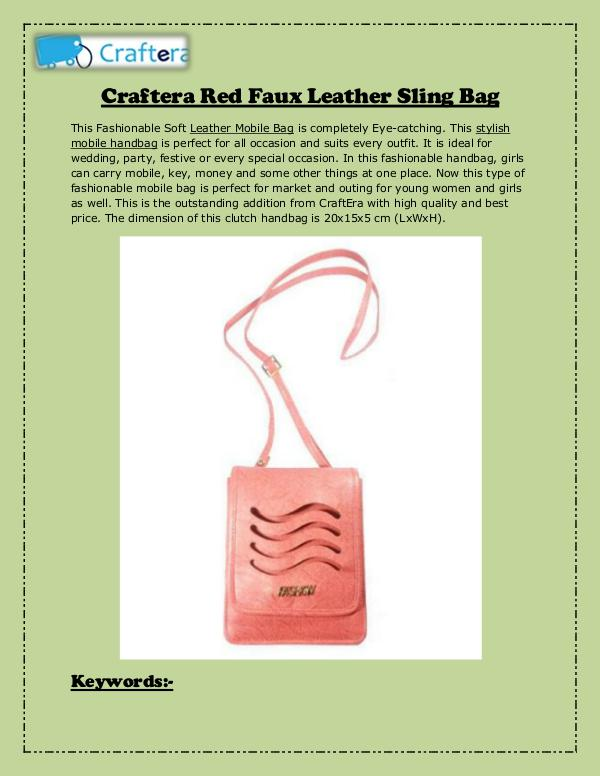 Leather Sling Bag Craftera Red Faux Leather Sling Bag