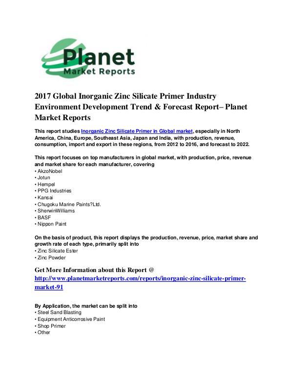 Zinc Silicate Primer Market Inorganic Zinc Silicate Market