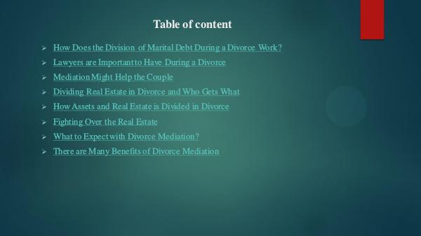 Division of Marital Debt During a Divorce Work?