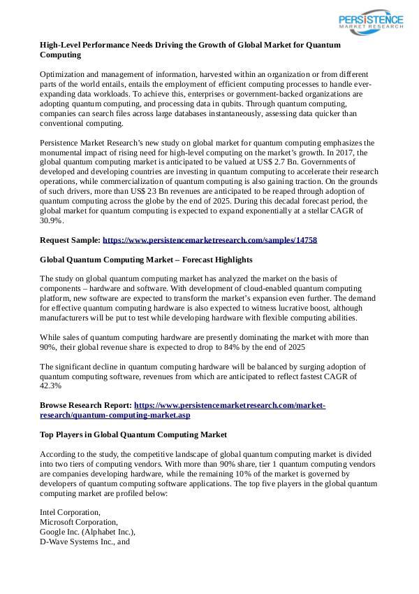 Technology Updates Quantum Computing Market