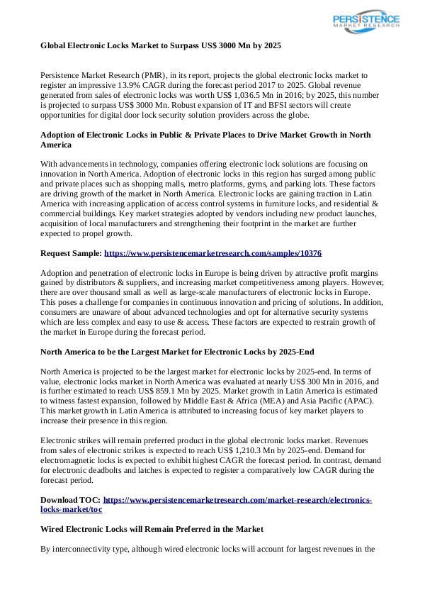 Technology Updates Electronic Locks Market
