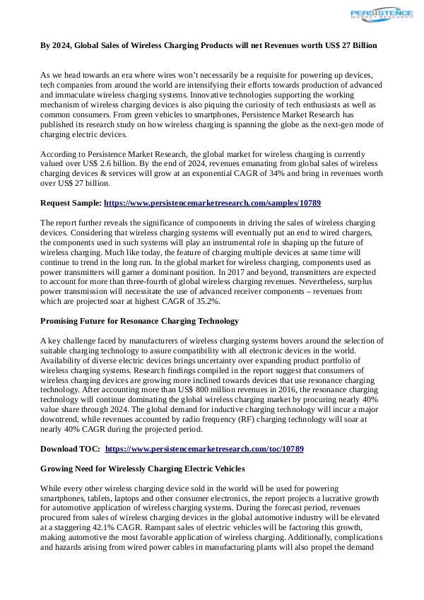Technology Updates Wireless Charging  Market