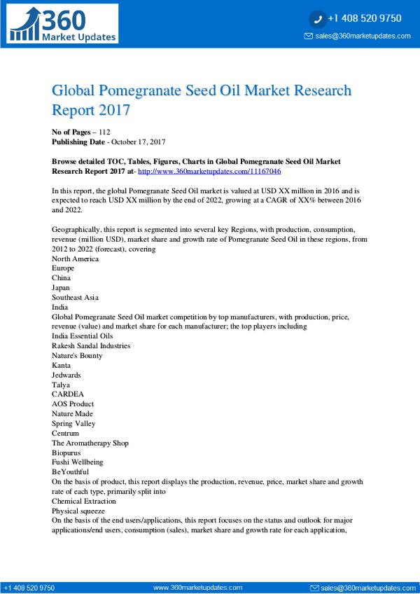 360 Market Updates Global Pomegranate Seed Oil Market Research Report