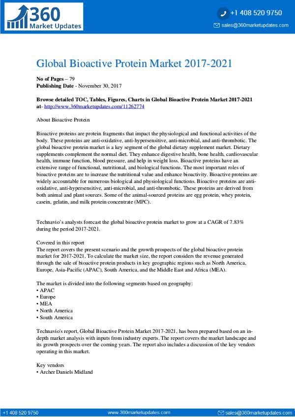 360 Market Updates Global Bioactive Protein Market 2017-2021