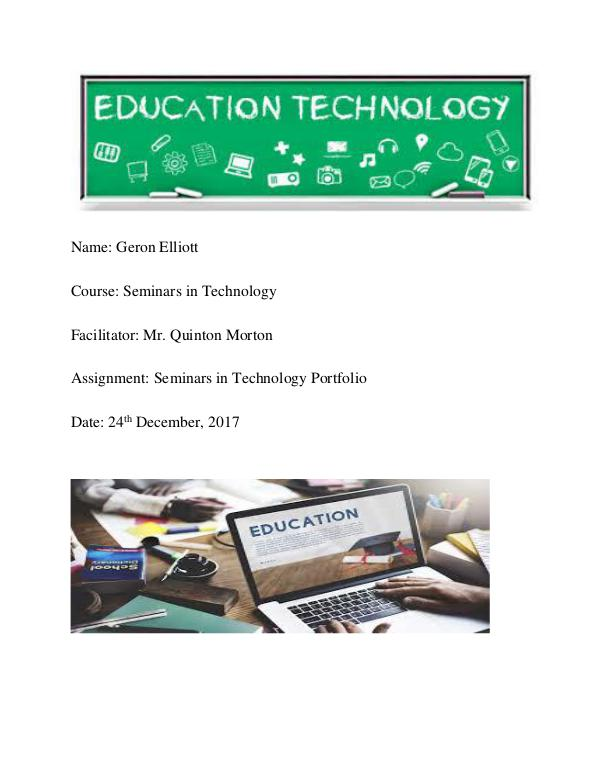 Geron Elliott Seminar In Technology Portfolio Geron Elliott Seminars In Technology Portfolio(clo