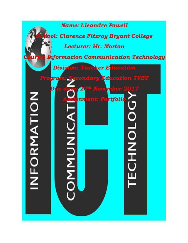 ICT Portfolio Title page ict  L.Powell