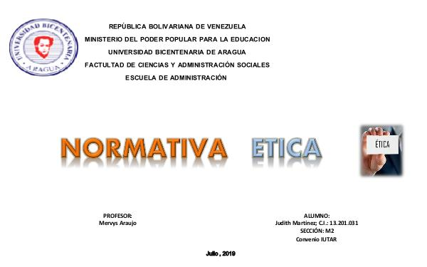 NORMATIVA ETICA Normativa Etica JMT