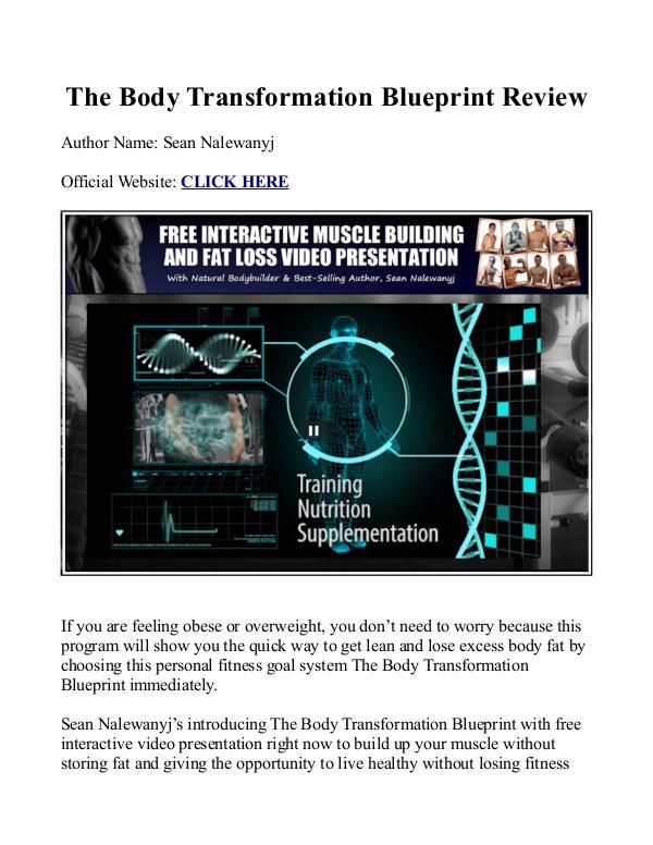 The Body Transformation Blueprint PDF / Workout, Book Free Download Sean Nalewanyj