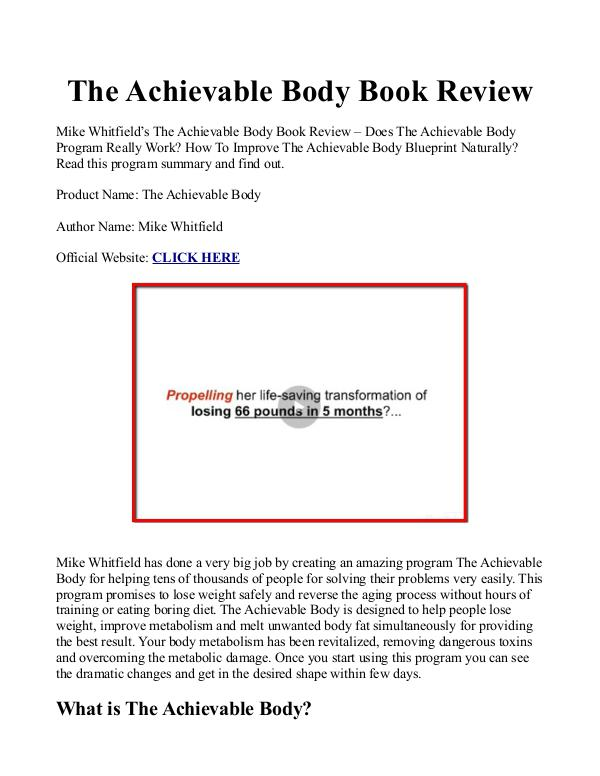 The Achievable Body Blueprint And Bonuses PDF / eBook Free Download Achievable Body