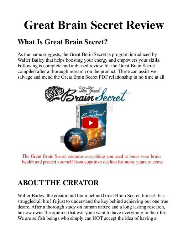 The Great Brain Secret PDF / Book, Protocol Free Download Walter Bailey