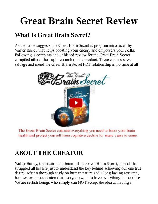 The Great Brain Secret PDF / Book Protocol Free Download Walter Bailey