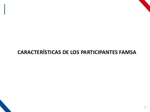 Características de los participantes CARACTERÍSTICAS DE LOS PARTICIPANTES FAMSA