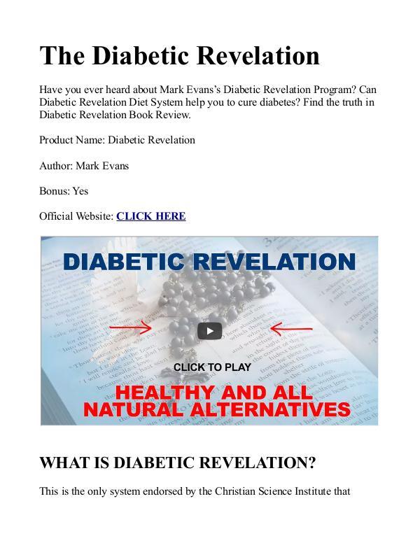 Diabetic Revelation PDF / Guide, Book Free Download Mark Evans