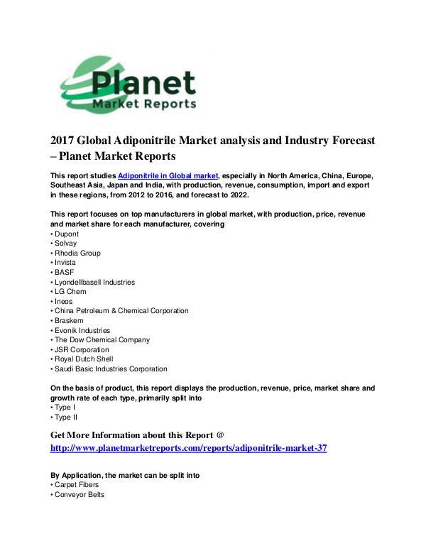 Adiponitrile Market Adiponitrile Market 2017 Global Market
