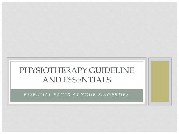 Strivept - Physiotherapy Kitchener Physiotherapy Guideline And Essentials