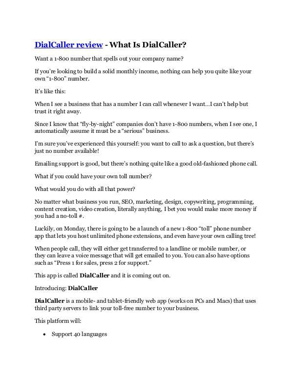 Marketing DialCaller Reviews and Bonuses - DialCaller