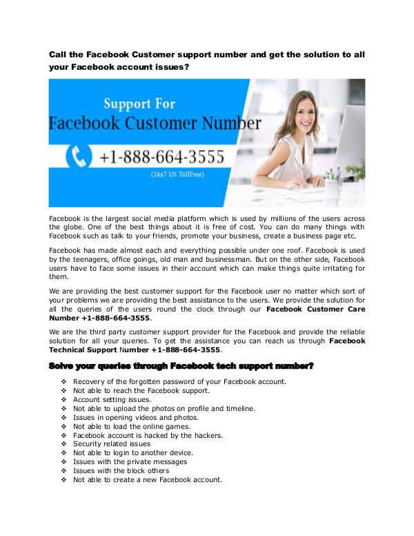 Facebook Tech Support Phone Number +1-888-664-3555 Facebook Tech Support Number  1-888-664-3555