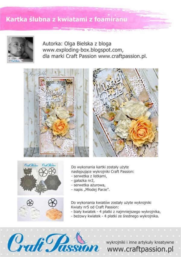 Craft Passion kurs - kartka ślubna - Olga Bielska dla Craft Pass