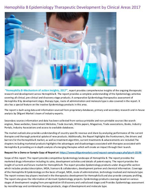 Research Report Hemophilia B Epidemiology Therapeutic Development
