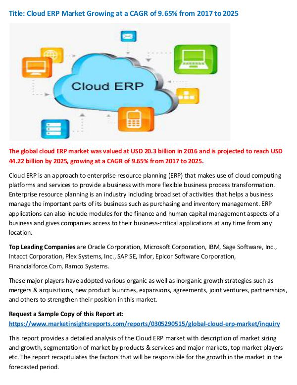 Research Report Cloud ERP Market Growing at a CAGR of 9.65% from 2